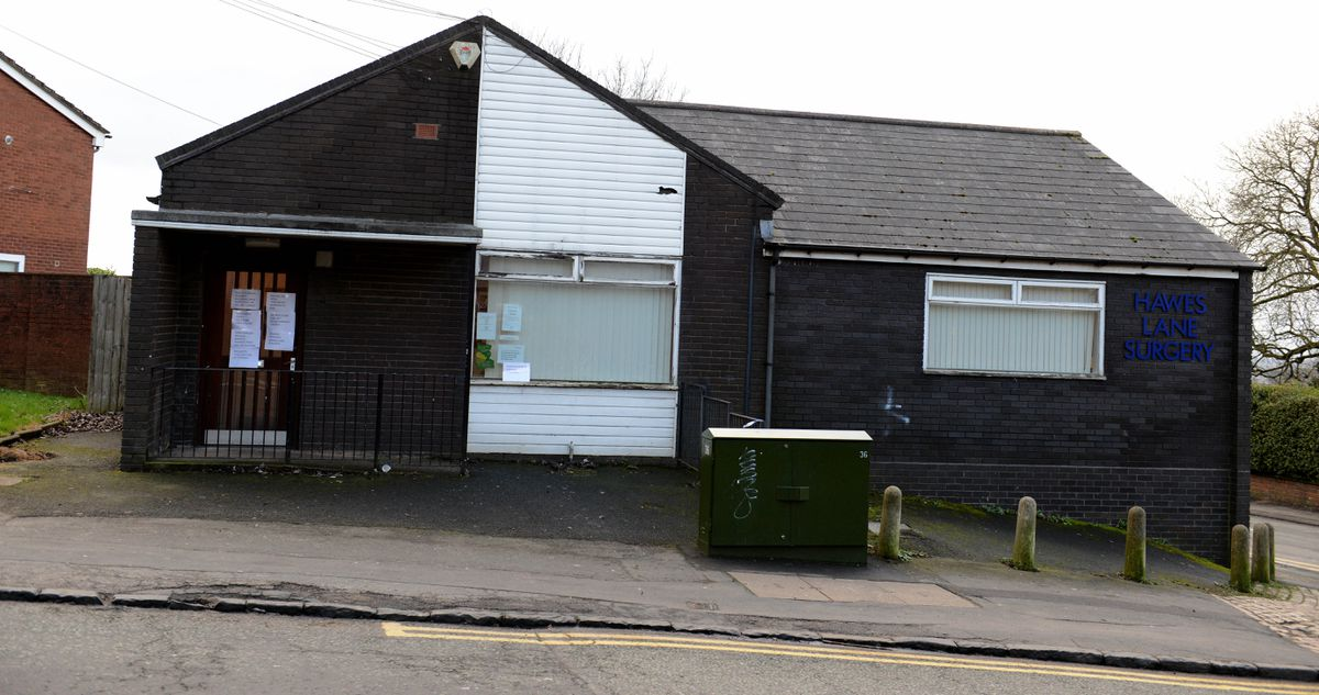 The Hawes Lane Surgery with blinds drawn after the stabbing