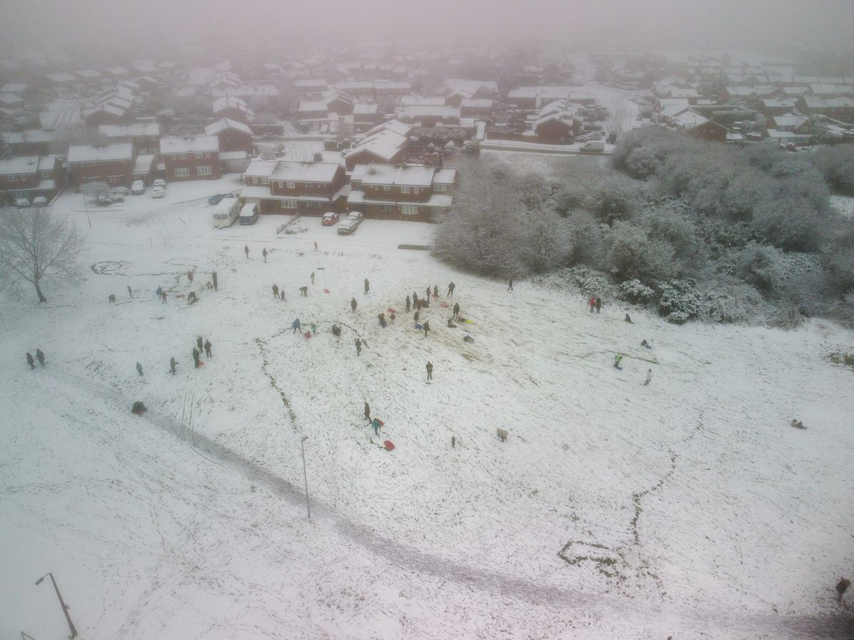 Paul Turner used his drone to capture the sledgers in Coppice Farm, Willenhall