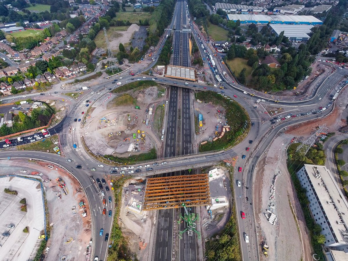 The new beams in place ready to support a new bridge over the M6 at Junction 10. Photo: Paul Turner