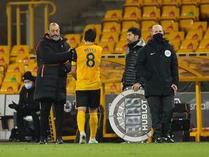Nuno Espirito Santo the manager / head coach of Wolverhampton Wanderers with Ruben Neves.