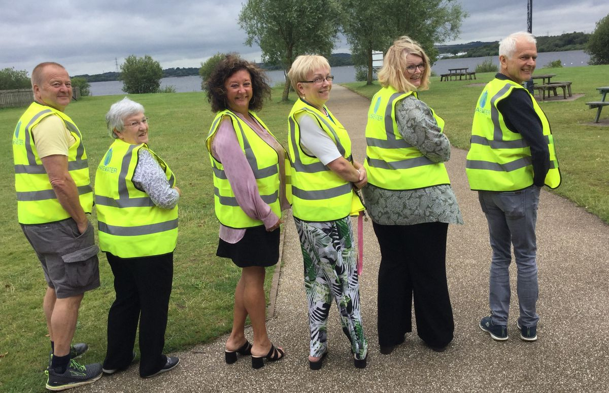 Chasewater Friends Trustees - John Griffin, Sue Woodward, Helen Fisher, Susan Williams and Johnny McMahon - and Chasewater Development Manager, Jane Lees.