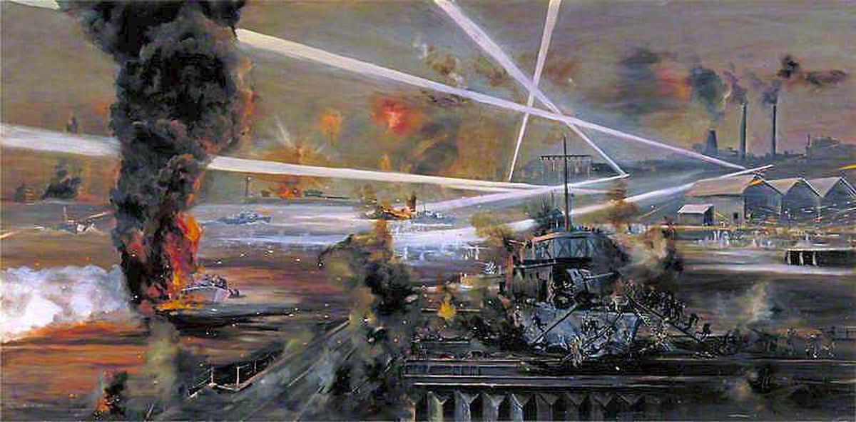 John Alan Hamilton's oil painting of the 1942 raid shows the horror of the battle