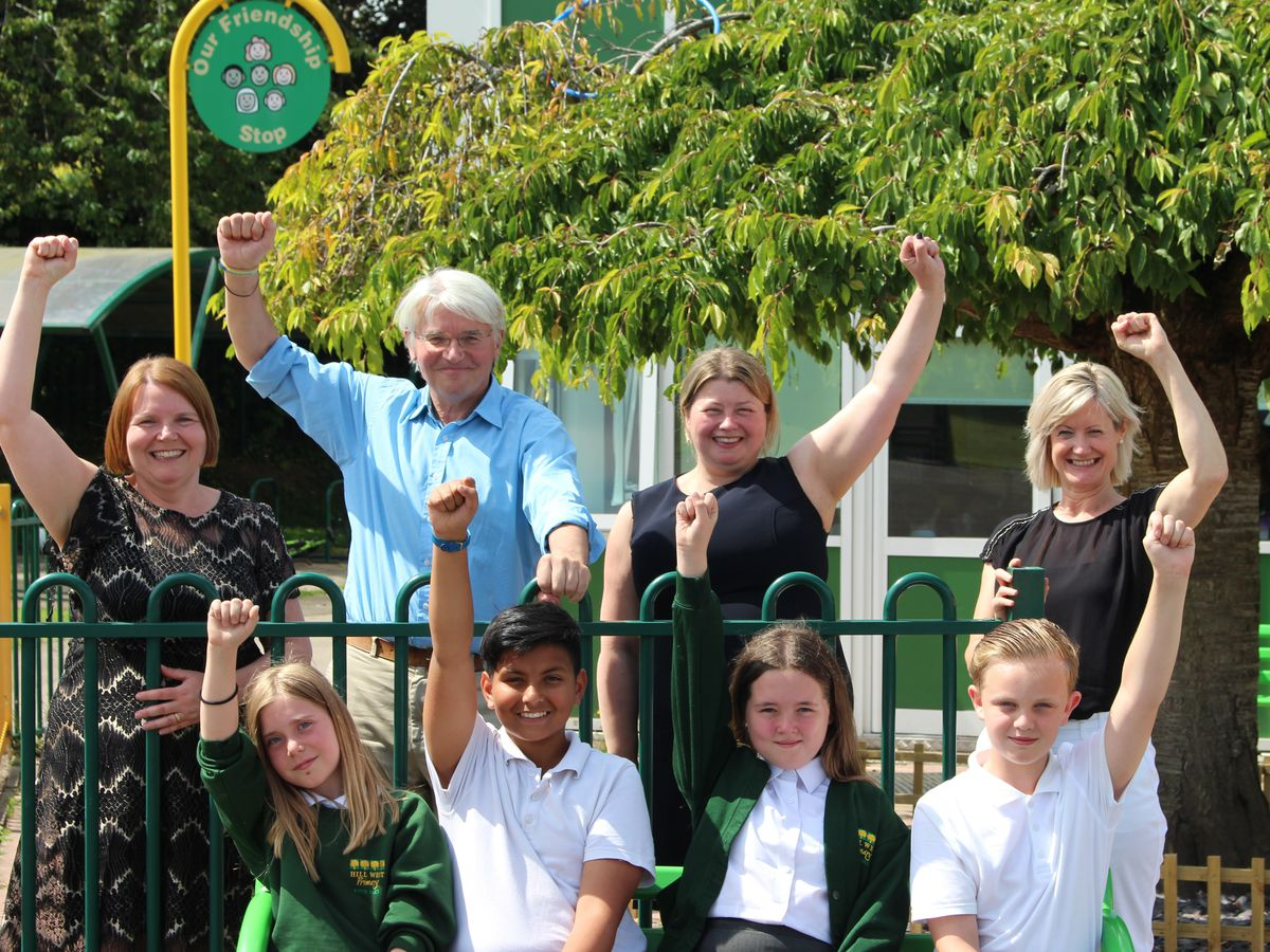 Dr Beth Clarke, Dr Rhian Warrack, Myra Clinton and Year 5 pupils Katie, Florence, Ethan and Theo, with Andrew Mitchell MP