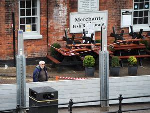The flood barriers in Bewdley
