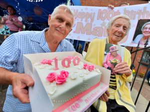 WOLVERHAMPTON COPYRIGHT EXPRESS AND STAR STEVE LEATH 25/07/2020..Pics in Bilston where Katleen-Mary Colbourne (Mary) was celebrating her 100th birthday.  With son: John Colbourne 75..