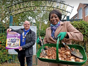 Councillor Sandra Samuels and the president of Wolverhampton and Bilston West Rotary Club Andy Baker have been travelling around Wolverhampton to spread awareness of polio