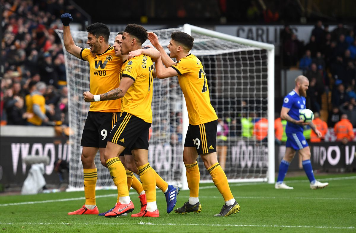 Diogo Jota of Wolverhampton Wanderers celebrates after scoring a goal to make it 1-0. (AMA/Sam Bagnall)