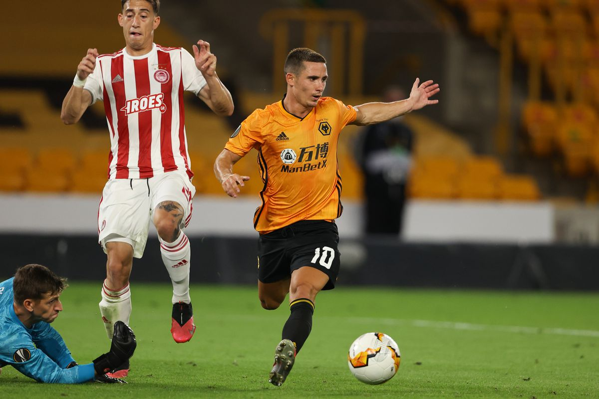 Daniel Podence of Wolverhampton Wanderers has a chance saved by Bobby Allain of Olympiacos (AMA)