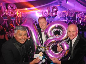 From left, founding trustees Suresh Bawa and Steve Walker with Wolves legend Steve Bull celebrating 18 years of Promise Dreams at Wolverhampton Racecourse