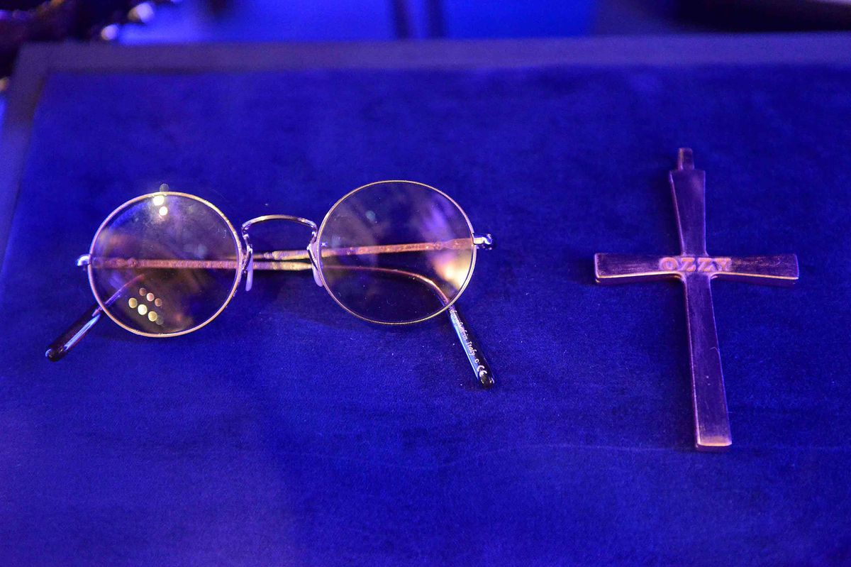 Ozzy Osbourne's iconic glasses and cross
