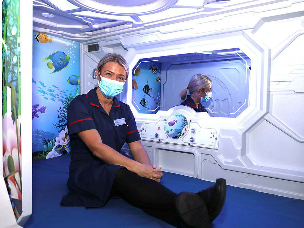 Matron Nichola Plant in the new sensory pod at New Cross Hospital, Wolverhampton, which will be used to calm patients