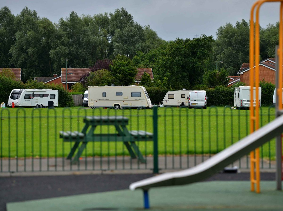 About a dozen vehicles moved onto the play park in Shelfield