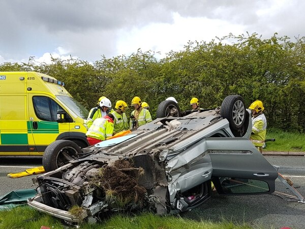 Man airlifted to hospital as car overturns in Burntwood crash