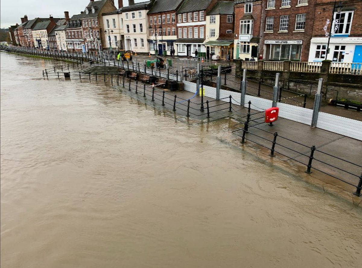 The flood barriers along the River Severn in Bewdley. Photo: Mark Garnier