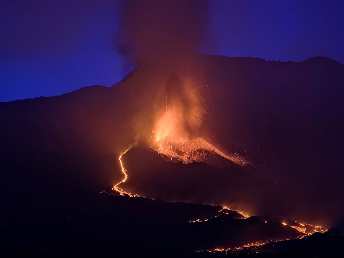 Lava flows from the volcano on La Palma