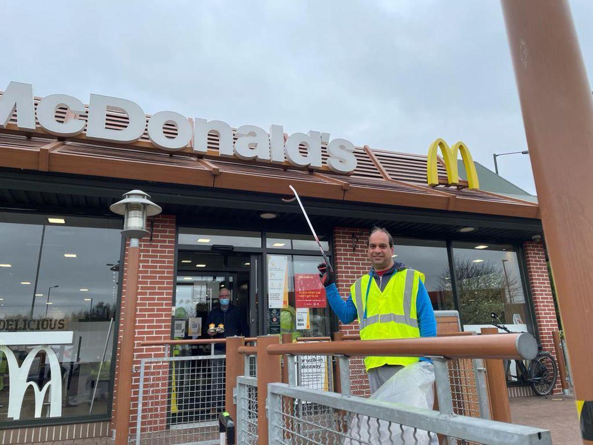 Councillor Gaz Ali outside McDonald's Reedswood branch in Walsall. Photo: Gaz Ali