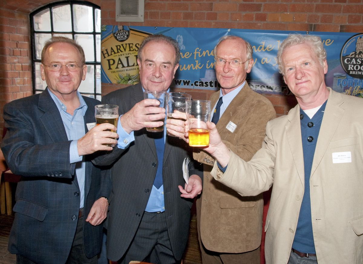 Campaign for Real Ale founding members Bill Mellor, Michael Hardman MBE, Graham Lees and Jim Makin raise a glass to the organisation's 40th anniversary this year