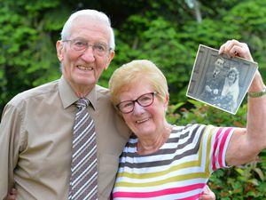 Ready to celebrate their platinum wedding anniversary, Albert Hazeldine and his wife Lily Hazeldine, of Swindon, Dudley.