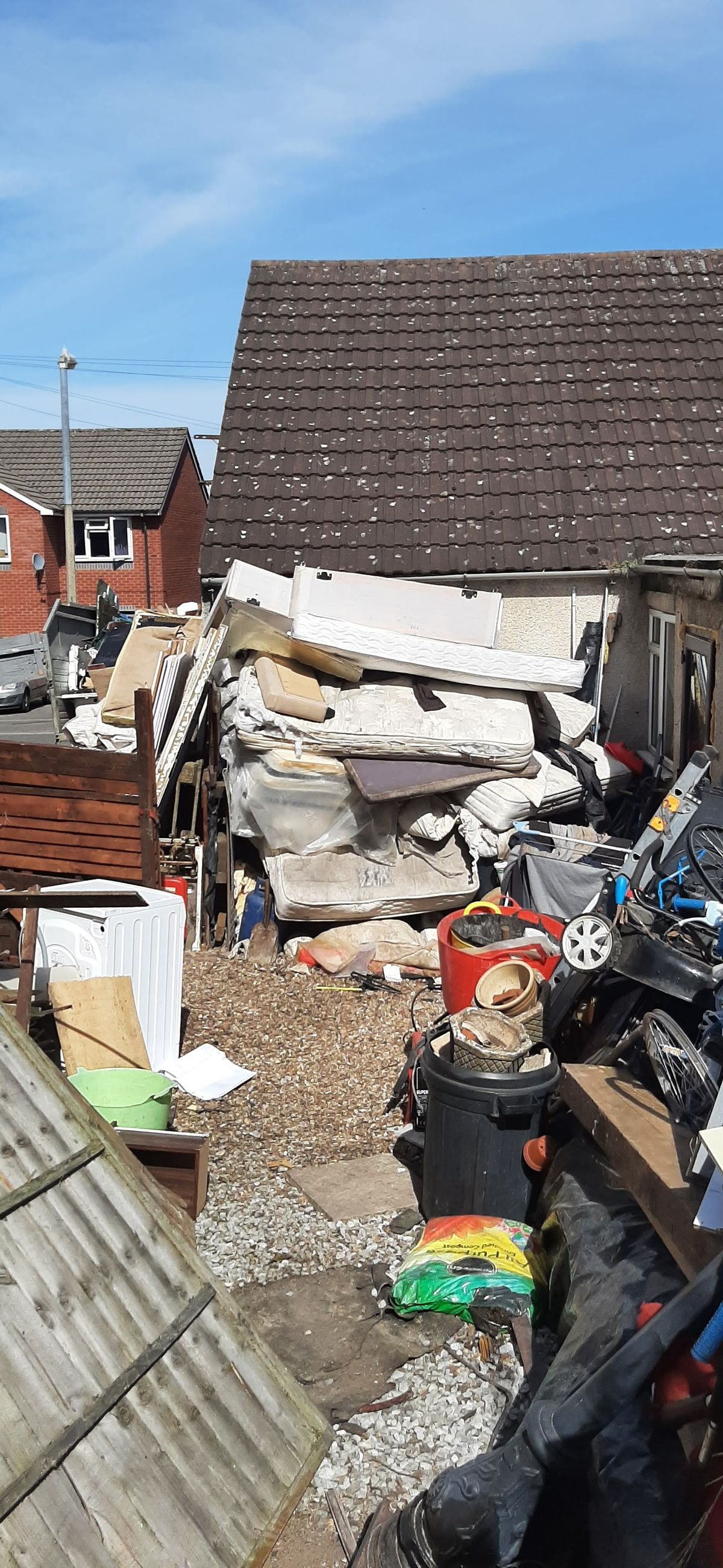 The mountain of rubbish outside the Lye home. Photo: Dudley Council