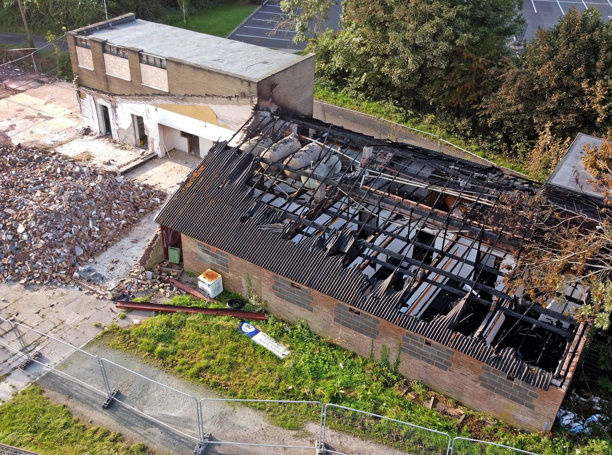 The aftermath of the fire at the former Stafford Rugby Club, which is now considered to have been started deliberately