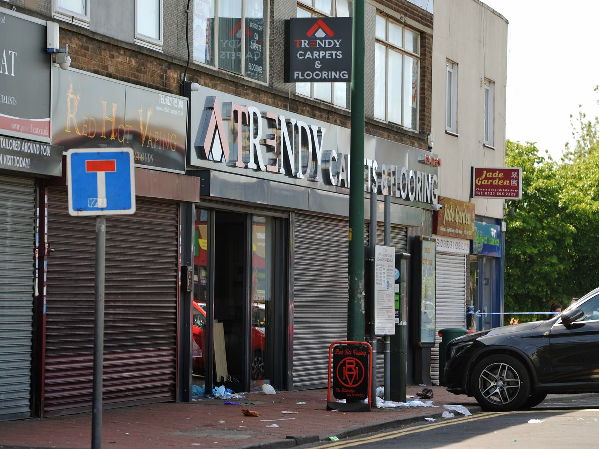 The scene in Upper High Street, Wednesbury, on Tuesday