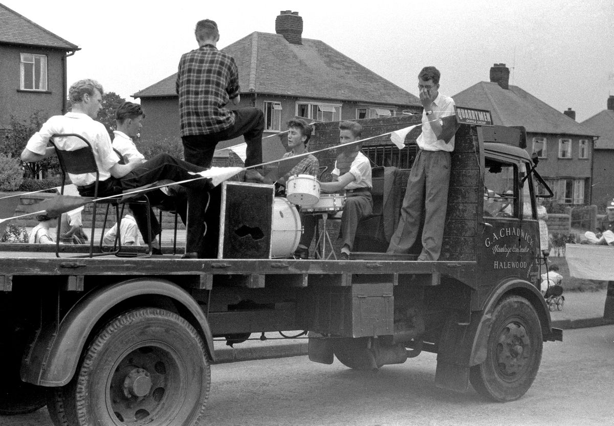 The Quarrymen, including John Lennon (third from right) and Rod Davis (right), on their way to St Peter's Church fete at Woolton, Liverpool – the day John first met Paul McCartney. Photo: Rod Davis