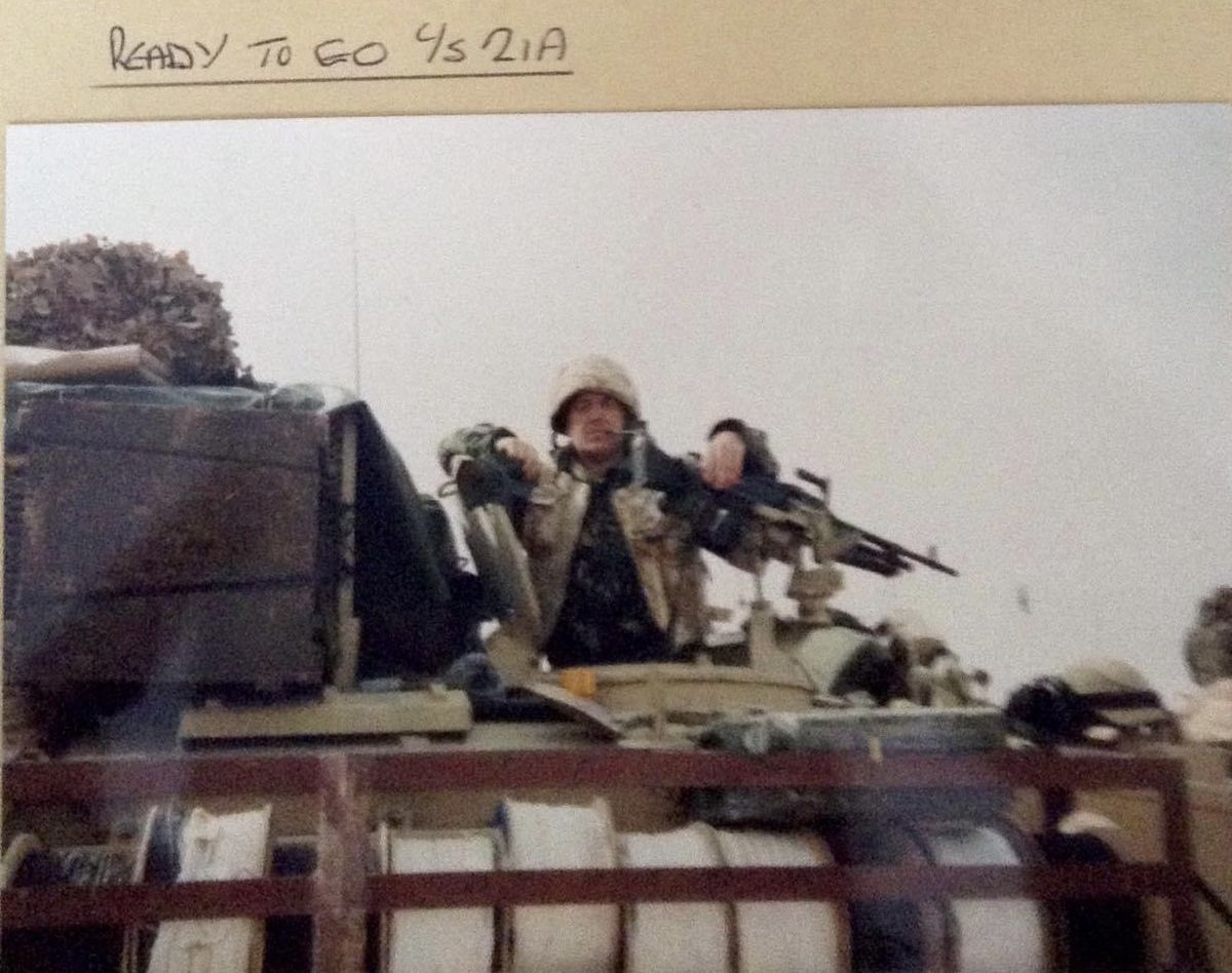 Ready for action - Keith Hodgson waiting for the land invasion in 1990