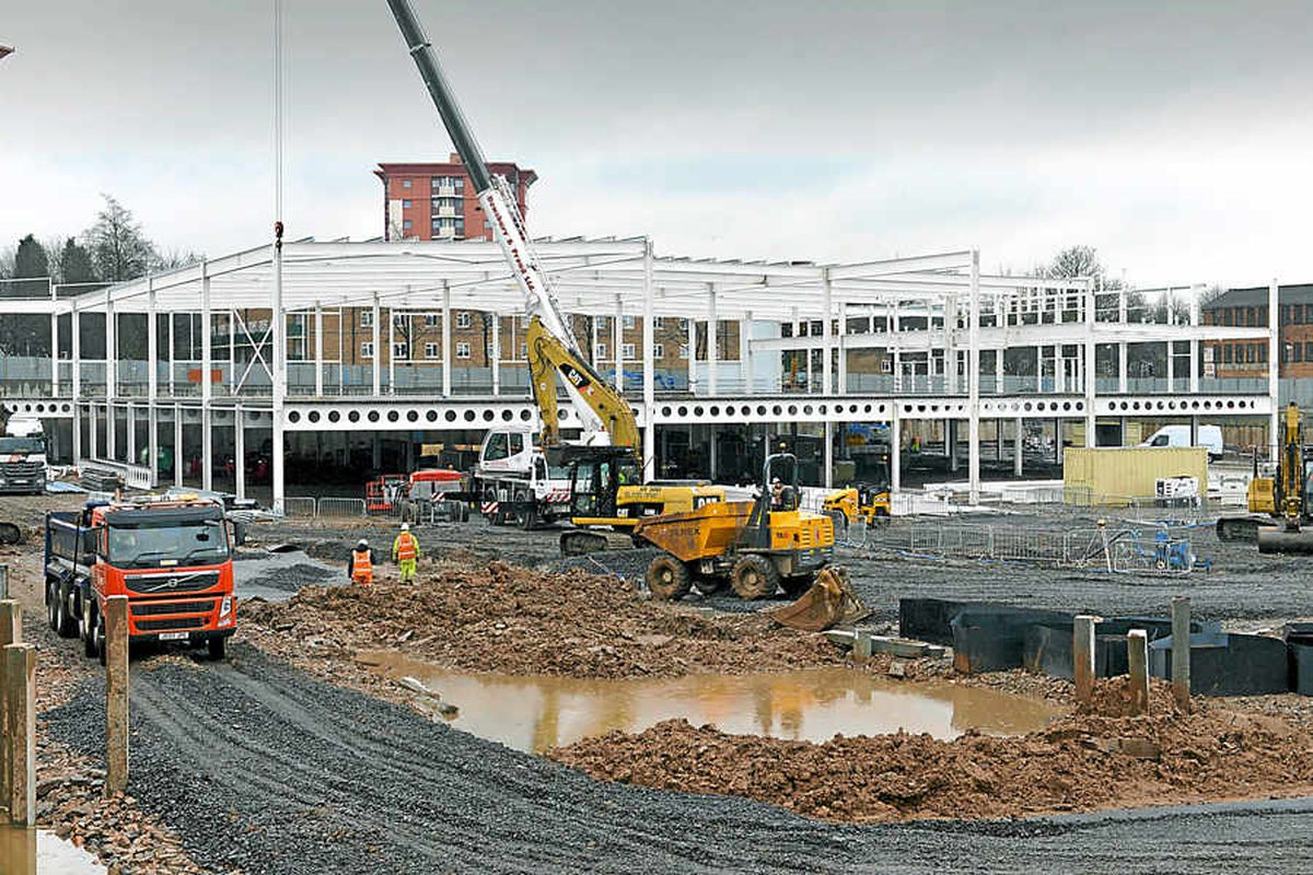 Frame of Wolverhampton's new £60m Sainsbury's rising from the mud