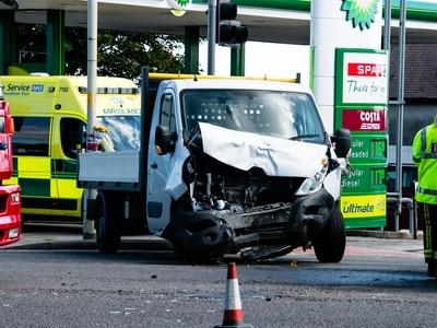 Man taken to hospital as van crash blocks Birmingham New Road