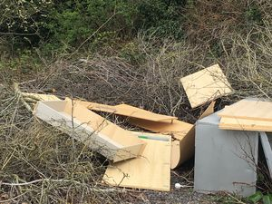 Residents are being asked for help to identify fly tippers who dumped rubbish at a business park in Stone
