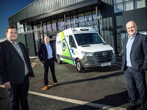 Freezerent Managing Director Lee Dorward, right, and Operations Director Lee Hampson, centre, are pictured with Joe Lynock of Midlands Truck & Van