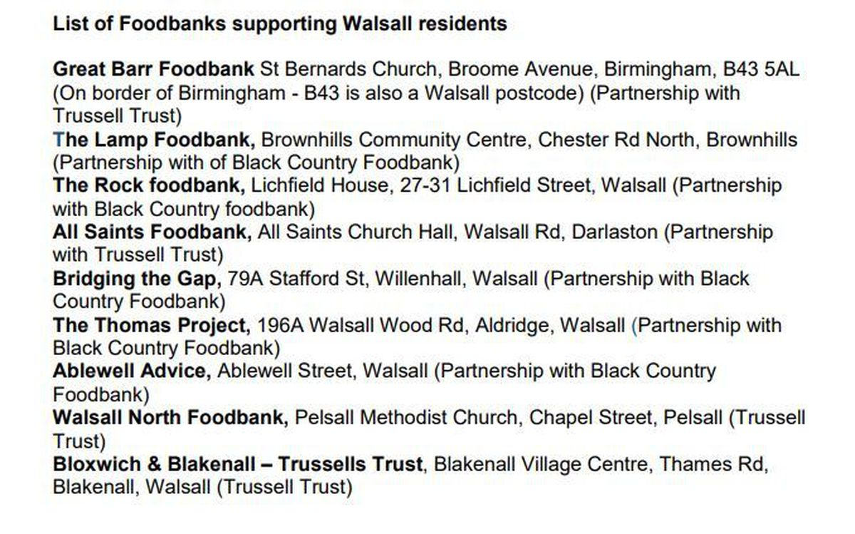Food banks in the Walsall borough