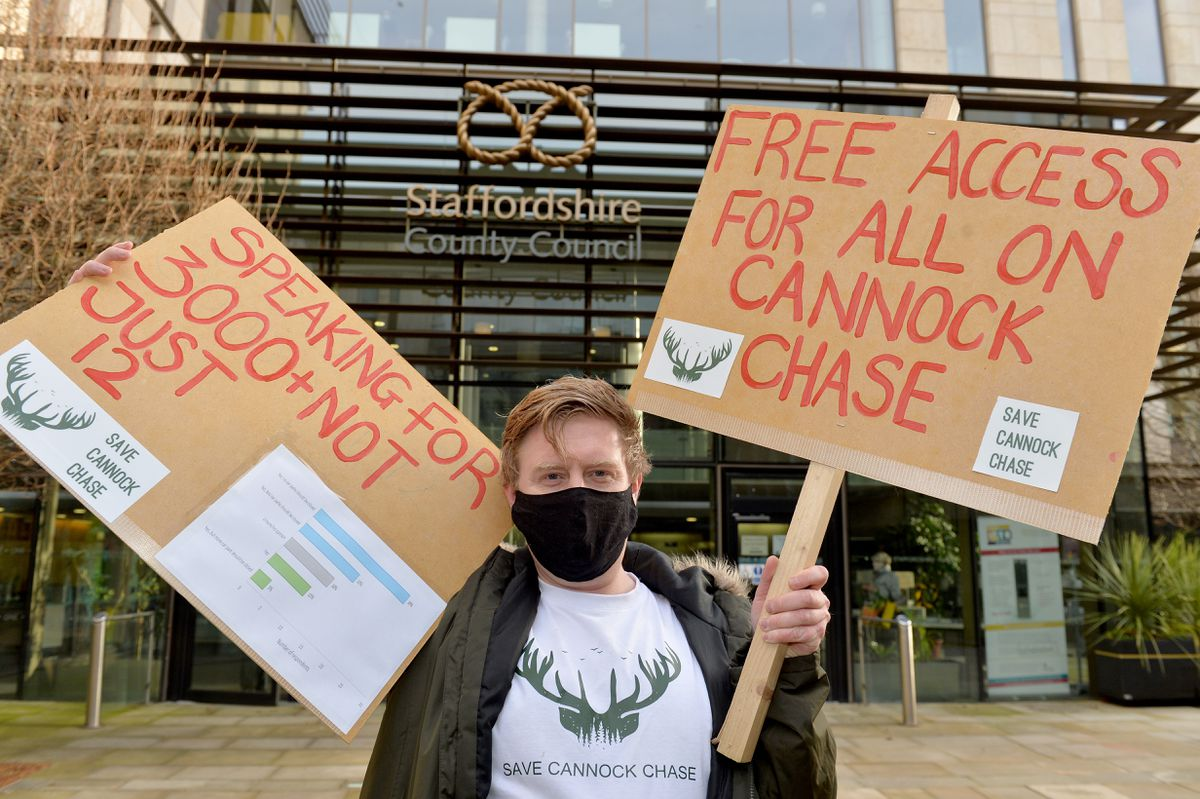 Stuart Haynes held a one-man protest outside Staffordshire County Council over its plans for Cannock Chase
