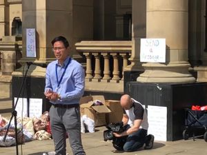 Councillor Alex Yip at the SEND protest last week. Photo: Alex Yip