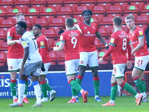 SPORT COPYRIGHT TIM STURGESS EXPRESS AND STAR...... 10/10/2020..... Walsall V Colchester ......Pictured, Elijah Abedayo scores for the saddlers  and celebrates..