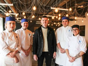 Students with star chef Stu Deeley