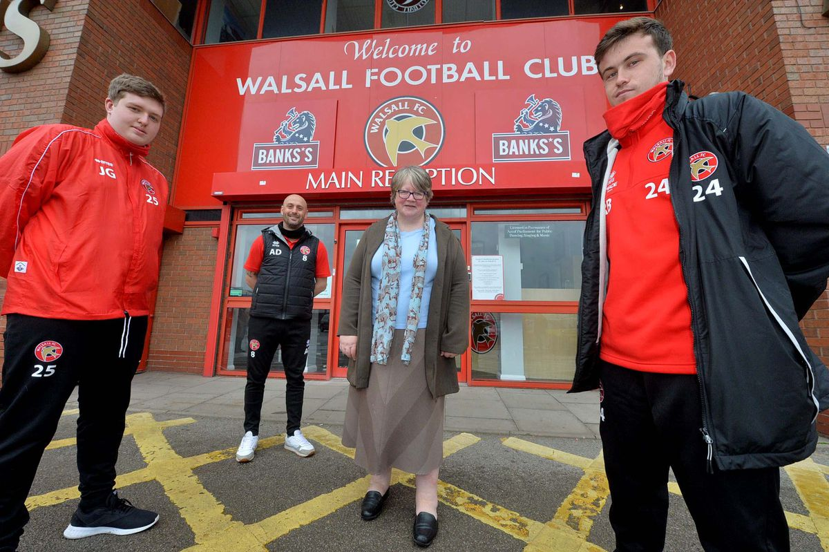 WALSALL COPYRIGHT EXPRESS AND STAR STEVE LEATH 20/05/2021..Walsall FC and MP Therese Coffey  (Secretary of State for Work and Pensions), was visiting to speak to people on the Kickstart scheme. With L-R:  Joseph Gomez 19 Lichfield, WFC Community Director: Adam Davey, Reece Berry 22 from Walsall..