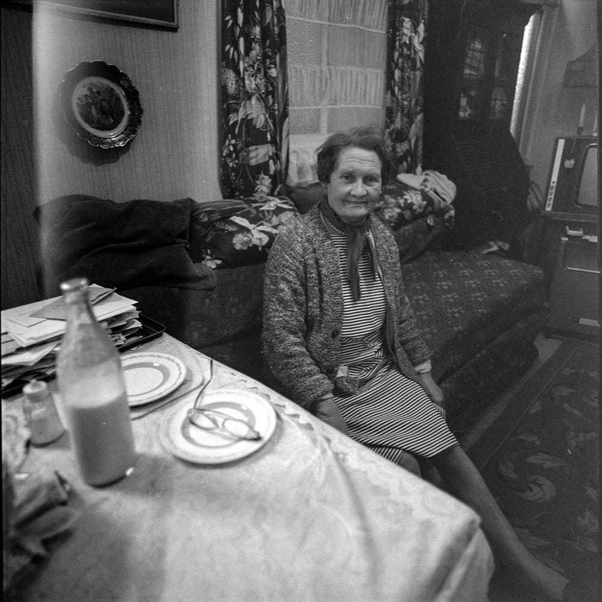 Mrs Harrington sits in her house in North Street, opposite The Feathers