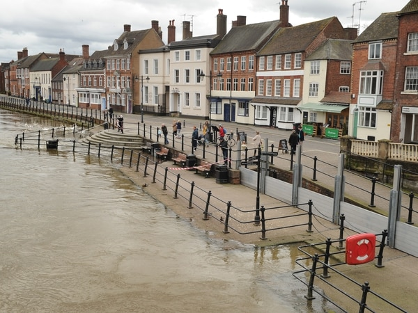 Flood barriers up along River Severn amid highest water levels in three years