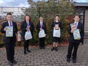 Pupils from Baxter College with their breakfasts