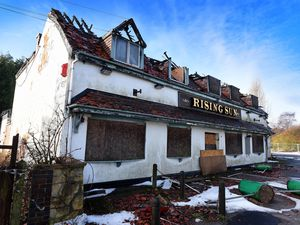 The derelict Rising Sun pub in Brownhills which has suffered fire damage and vandal attacks