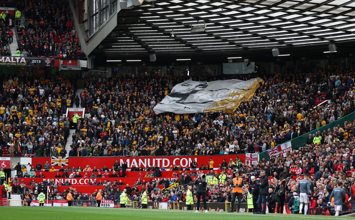 Wolves fans with the Carl Ikeme banner at Old Trafford in September