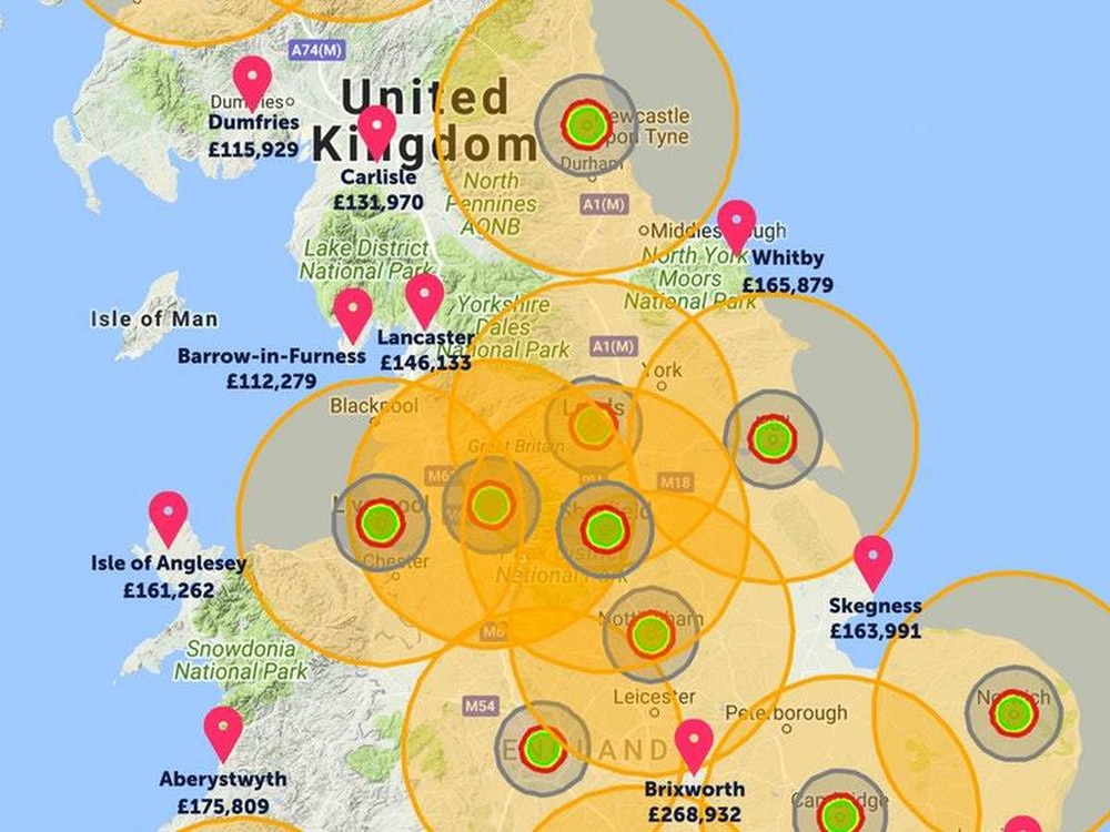 An estate agent has drawn up a map showing the best places ...