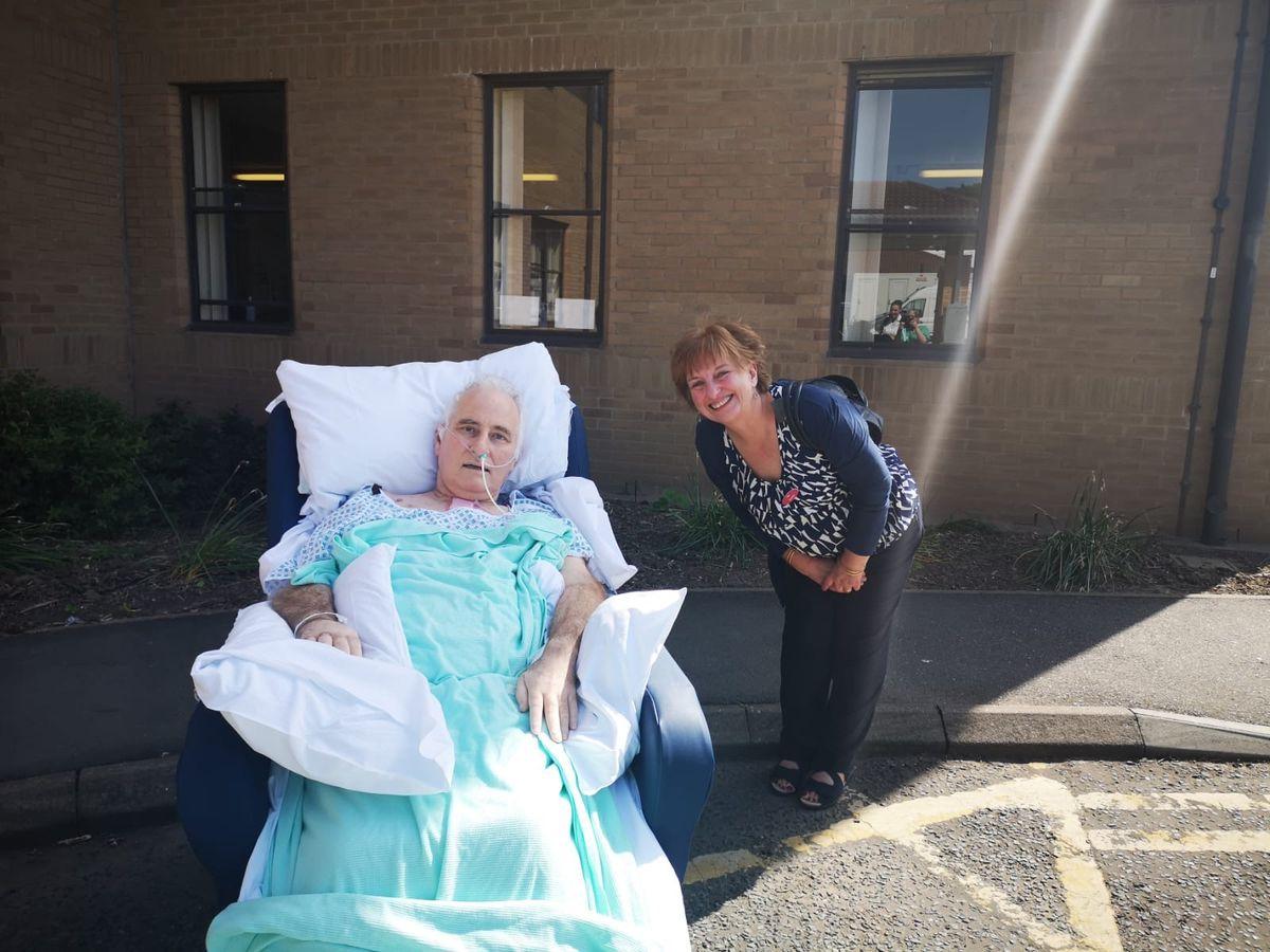 Paul Hodgskin with his partner Sue Dhingra at Princess Royal Hospital in Telford
