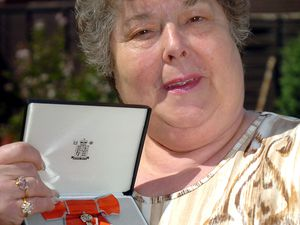 COPYRIGHT EXPRESS & STAR PICTURE JEFF MILLWARD10/5/07 DUDLEY.Gwen Timmins from Kingswinford with her MBE.