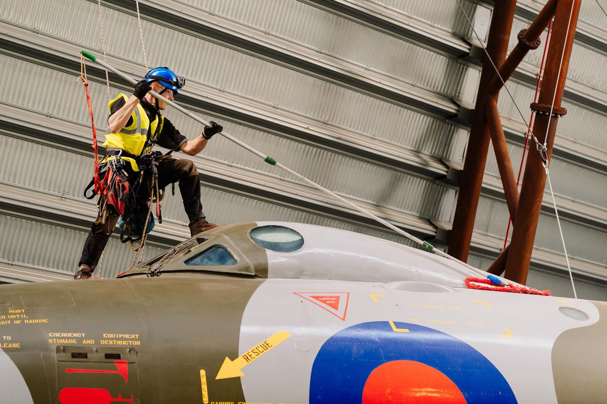 The cleaning team in action at RAF Museum Cosford