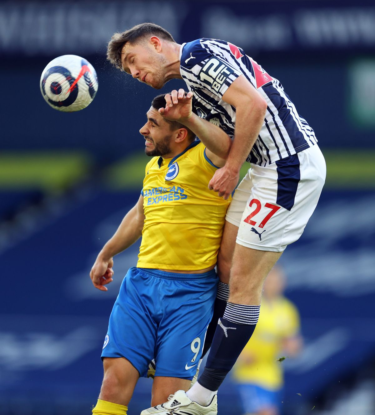West Bromwich Albion's Dara O'Shea (right) and Brighton and Hove Albion's Neal Maupay