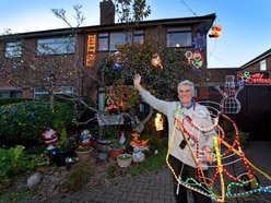 Rushall house covered in Christmas lights in October