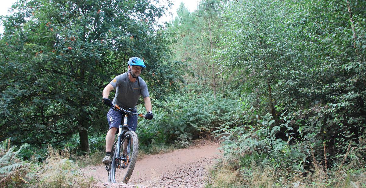 James Whitford doing his mountain bike training