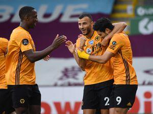 Raul Jimenez of Wolverhampton Wanderers celebrates after scoring a goal to make it 0-1.